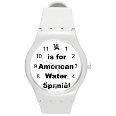 A Is For American Water Spaniel Round Plastic Sport Watch (m)