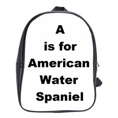A Is For American Water Spaniel School Bag (xl)