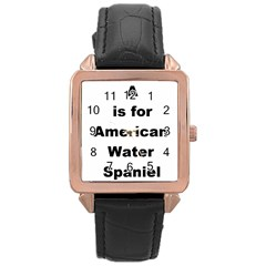 A Is For American Water Spaniel Rose Gold Leather Watch