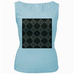 Oriental Pattern Women s Baby Blue Tank Top