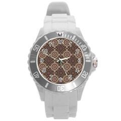 Oriental Pattern Round Plastic Sport Watch (l)