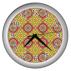 Oriental Pattern Wall Clocks (silver)