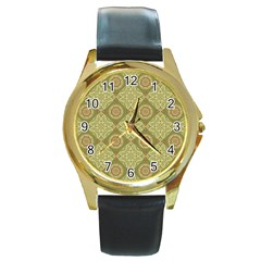 Oriental Pattern Round Gold Metal Watch