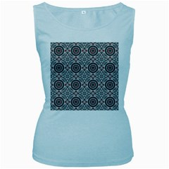 Oriental Pattern Women s Baby Blue Tank Top