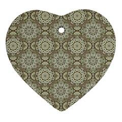 Oriental Pattern Heart Ornament (two Sides)