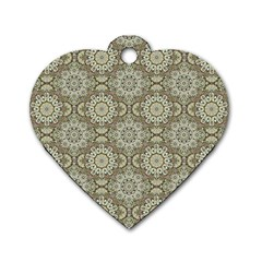 Oriental Pattern Dog Tag Heart (two Sides)