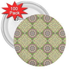 Oriental Pattern 3  Buttons (100 Pack)