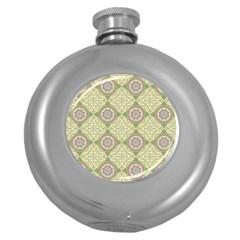 Oriental Pattern Round Hip Flask (5 Oz)