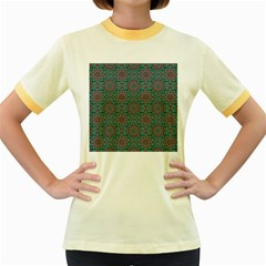 Oriental Pattern Women s Fitted Ringer T Shirts