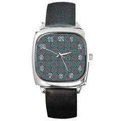 Oriental Pattern Square Metal Watch