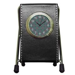 Oriental Pattern Pen Holder Desk Clocks