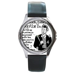 Rick Astley Round Metal Watch
