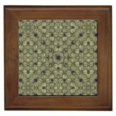 Stylized Modern Floral Design Framed Tiles