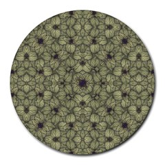 Stylized Modern Floral Design Round Mousepads