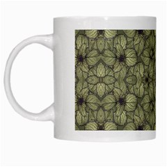 Stylized Modern Floral Design White Mugs