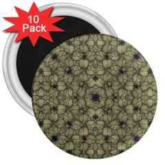 Stylized Modern Floral Design 3  Magnets (10 Pack)