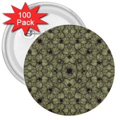 Stylized Modern Floral Design 3  Buttons (100 Pack)