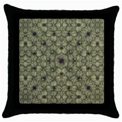 Stylized Modern Floral Design Throw Pillow Case (black)