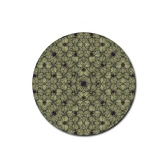 Stylized Modern Floral Design Rubber Coaster (round)