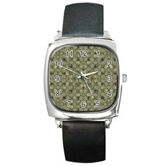 Stylized Modern Floral Design Square Metal Watch