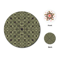 Stylized Modern Floral Design Playing Cards (round)