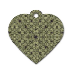 Stylized Modern Floral Design Dog Tag Heart (one Side)