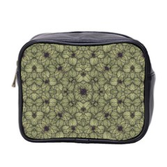 Stylized Modern Floral Design Mini Toiletries Bag 2 Side