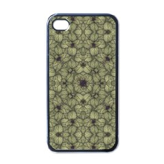 Stylized Modern Floral Design Apple Iphone 4 Case (black)