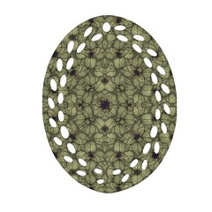 Stylized Modern Floral Design Oval Filigree Ornament (two Sides)