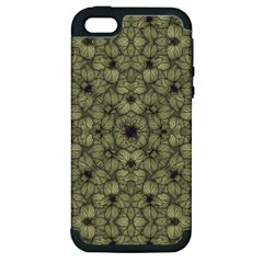 Stylized Modern Floral Design Apple Iphone 5 Hardshell Case (pc+silicone)