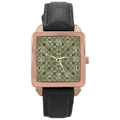 Stylized Modern Floral Design Rose Gold Leather Watch