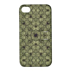 Stylized Modern Floral Design Apple Iphone 4/4s Hardshell Case With Stand