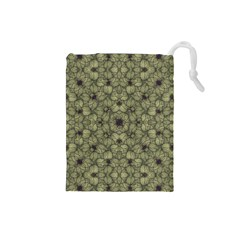 Stylized Modern Floral Design Drawstring Pouches (small)