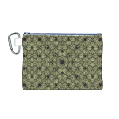 Stylized Modern Floral Design Canvas Cosmetic Bag (m)