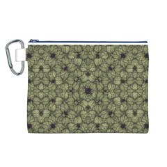 Stylized Modern Floral Design Canvas Cosmetic Bag (l)
