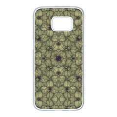 Stylized Modern Floral Design Samsung Galaxy S7 Edge White Seamless Case