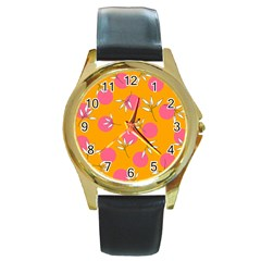 Playful Mood Ii Round Gold Metal Watch