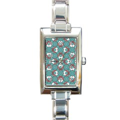 Colorful Geometric Graphic Floral Pattern Rectangle Italian Charm Watch
