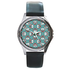 Colorful Geometric Graphic Floral Pattern Round Metal Watch