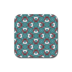 Colorful Geometric Graphic Floral Pattern Rubber Square Coaster (4 Pack)