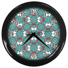 Colorful Geometric Graphic Floral Pattern Wall Clocks (black)