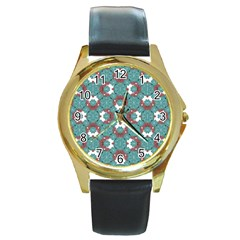Colorful Geometric Graphic Floral Pattern Round Gold Metal Watch
