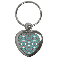 Colorful Geometric Graphic Floral Pattern Key Chains (heart)