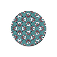 Colorful Geometric Graphic Floral Pattern Rubber Round Coaster (4 Pack)
