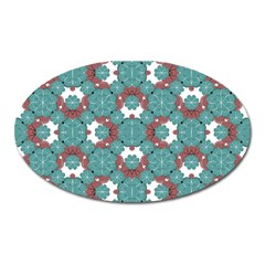Colorful Geometric Graphic Floral Pattern Oval Magnet