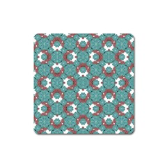 Colorful Geometric Graphic Floral Pattern Square Magnet