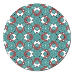 Colorful Geometric Graphic Floral Pattern Magnet 5  (round)