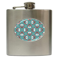 Colorful Geometric Graphic Floral Pattern Hip Flask (6 Oz)