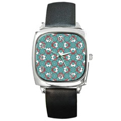 Colorful Geometric Graphic Floral Pattern Square Metal Watch