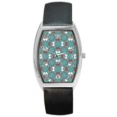 Colorful Geometric Graphic Floral Pattern Barrel Style Metal Watch